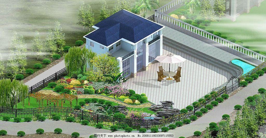 别墅效果图 别墅        树 园 屋 路 鸟瞰图 3d 园林 素材 模板 psd