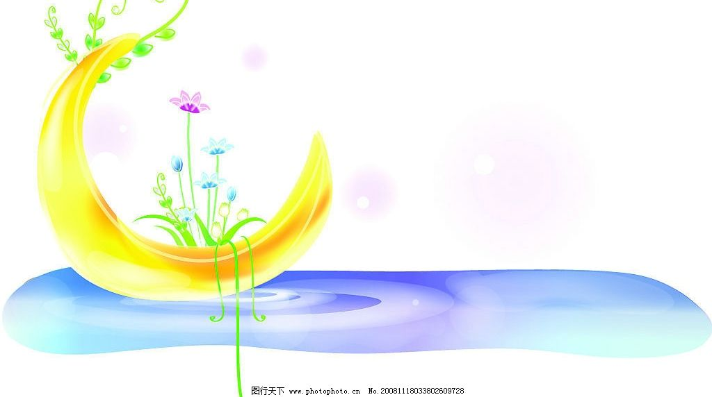 月亮 水波 花纹 树叶 可爱 淡雅 矢量 ai 其他矢量 矢量素材 矢量图库