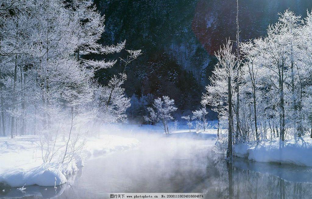 雪景 树林 河流 冰雪烟雾 雪松 自然景观 自然风景 摄影图库 72dpi