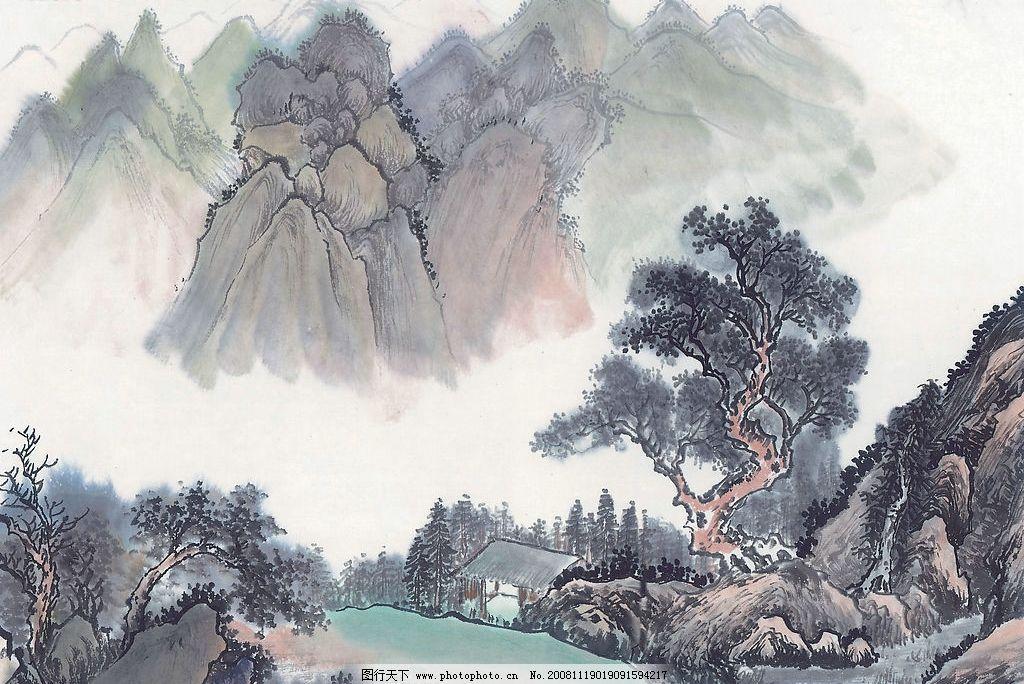 水墨画 山水画 水彩画 房 树 山 文化艺术 绘画书法 设计图库 300dpi