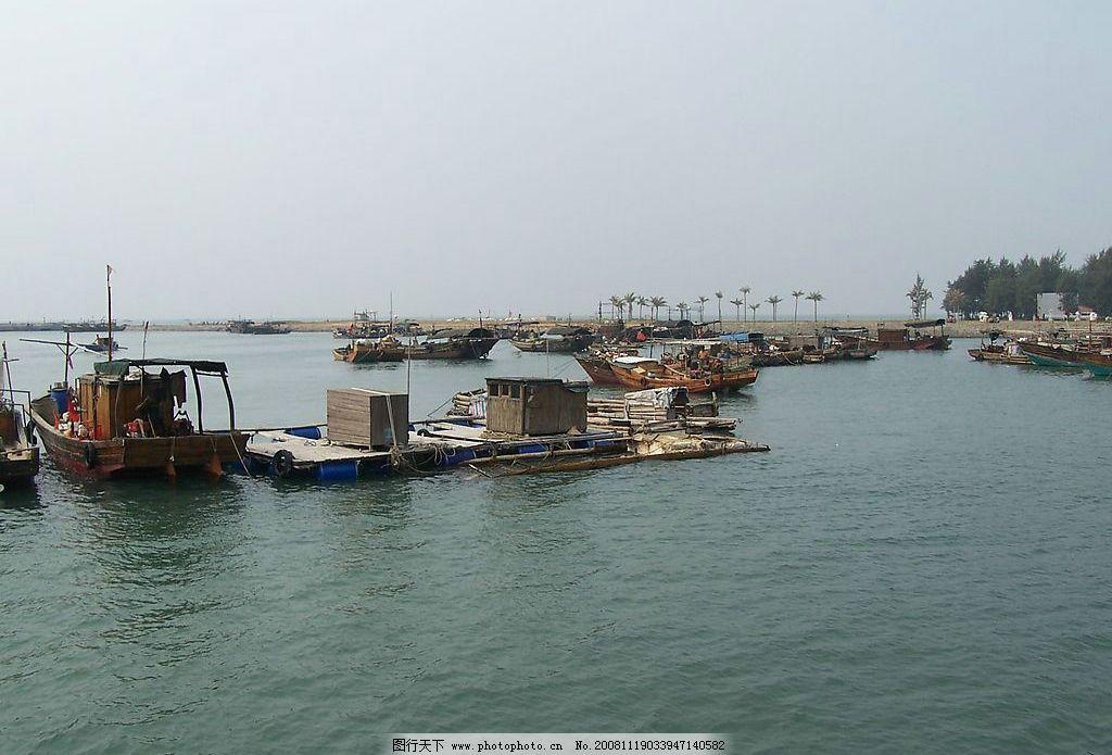 广西北海银滩 海边 树木 渔船 旅游摄影 国内旅游 摄影图库