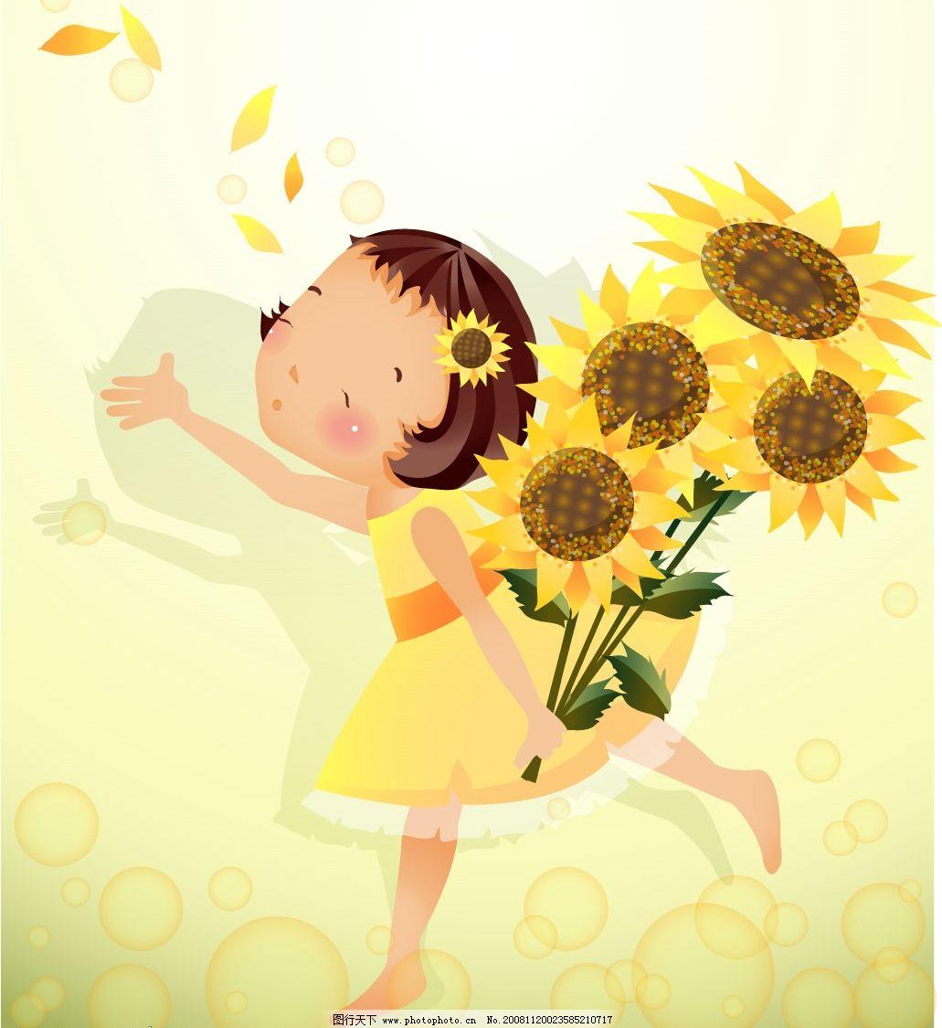 女孩向日葵图片