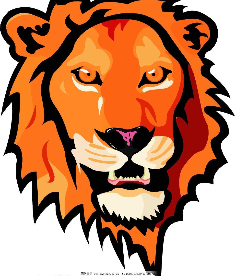 狮子头 红毛狮子头 尖牙 红眼 凶猛威武 矢量图库