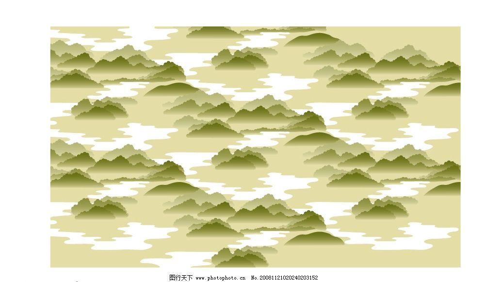 山水风景 山峰 大山 树木 自然景观 矢量图库 底纹边框 底纹背景