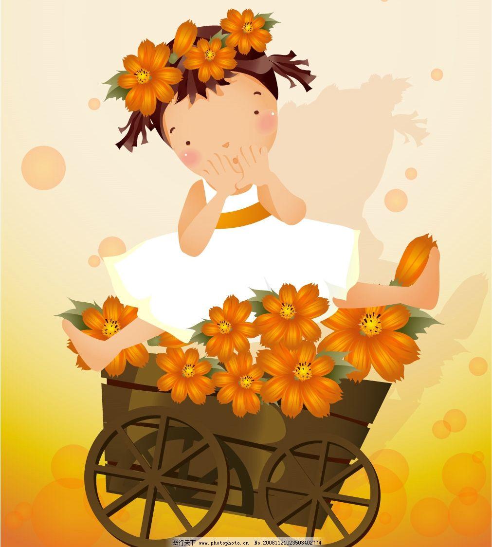女孩 橙色花朵 橙色 花朵 矢量 矢量人物 儿童幼儿 矢量图库 ai