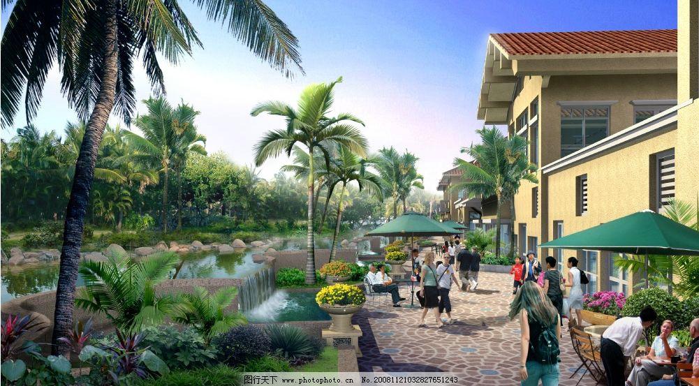 园林风光 椰树 建筑物 人 外国人 椅子 遮阳伞 水池 卵石 石头 绿水