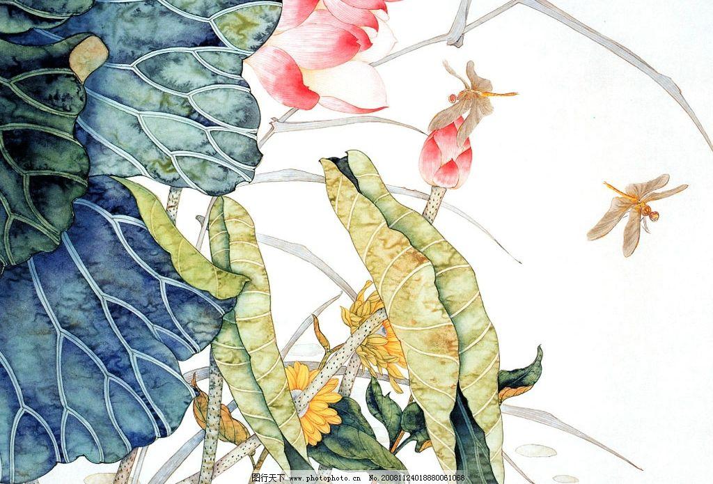 工笔国画 花鸟 花朵 绿叶 红花 草枝 黄叶 国画 工笔画 素材 文化艺术