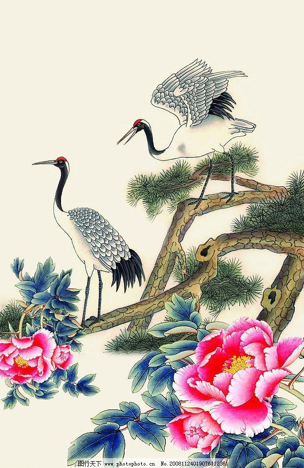 松鹤迎春 仙鹤 松树 牡丹花 文化艺术 绘画书法 设计图库 72dpi jpg