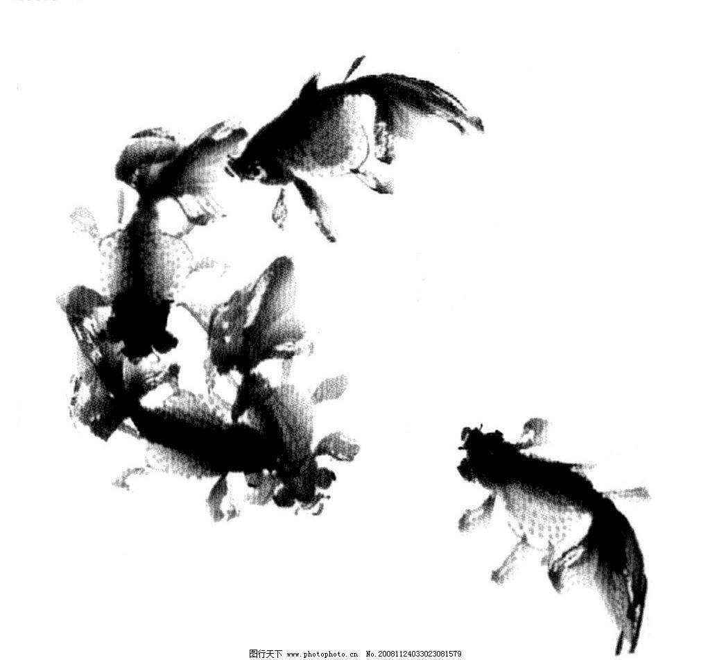 水墨鱼psd分层素材 五只金鱼 写意 源文件库