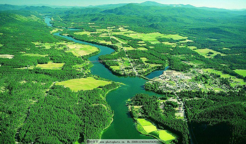 山恋 树木 树林 森林 平地 草地 河流 流水 俯视 自然景观 山水风景