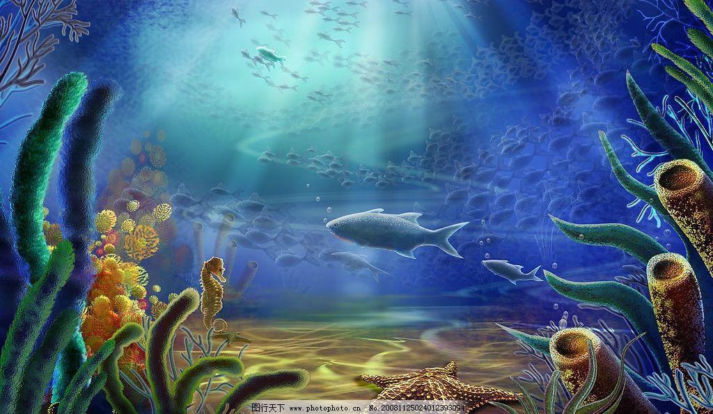 海底世界 鱼群 海藻 珊瑚 海草 海马 海星