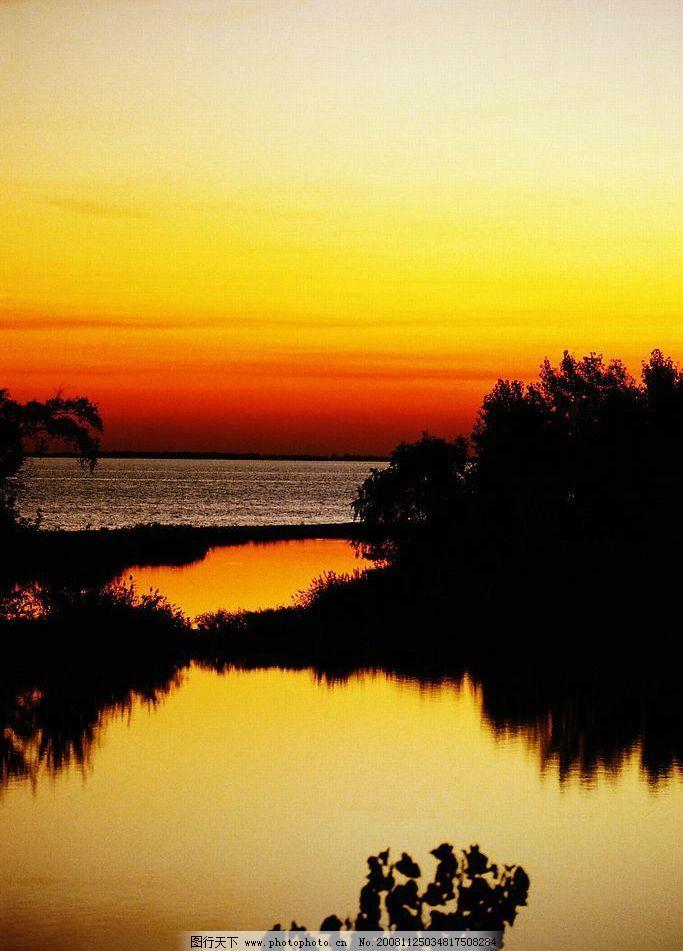 溪水 河流 树木 风景图片 野外风景 自然风景 山水图 摄影图片 晚霞