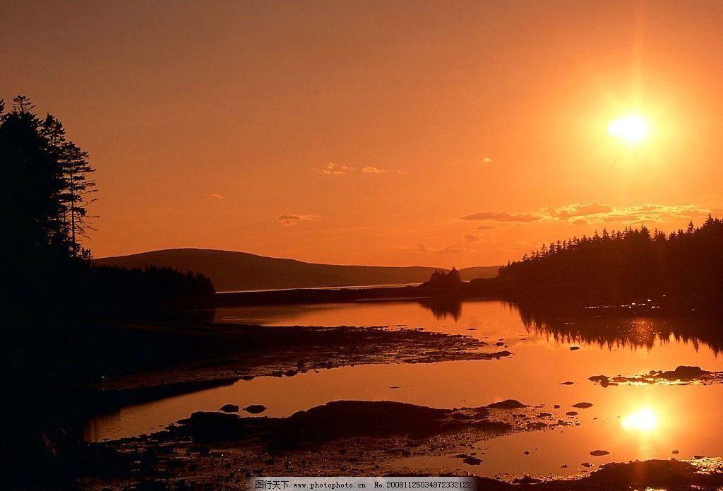 夕阳无限好 晚霞 太阳 湖泊 山水 落日 黄昏 风景 天空 树