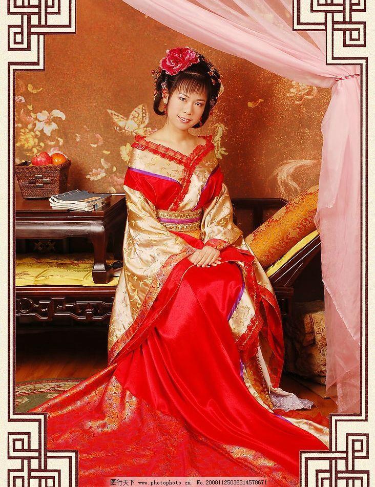 古典美女写真唐装 古典美女唐装 古典 古代 美女 贵妃 唐装 人物图库