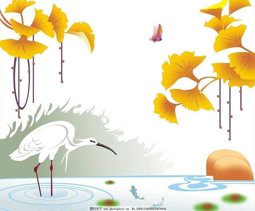 仙鹤 底纹边框 花边花纹 设计图库 150dpi jpg
