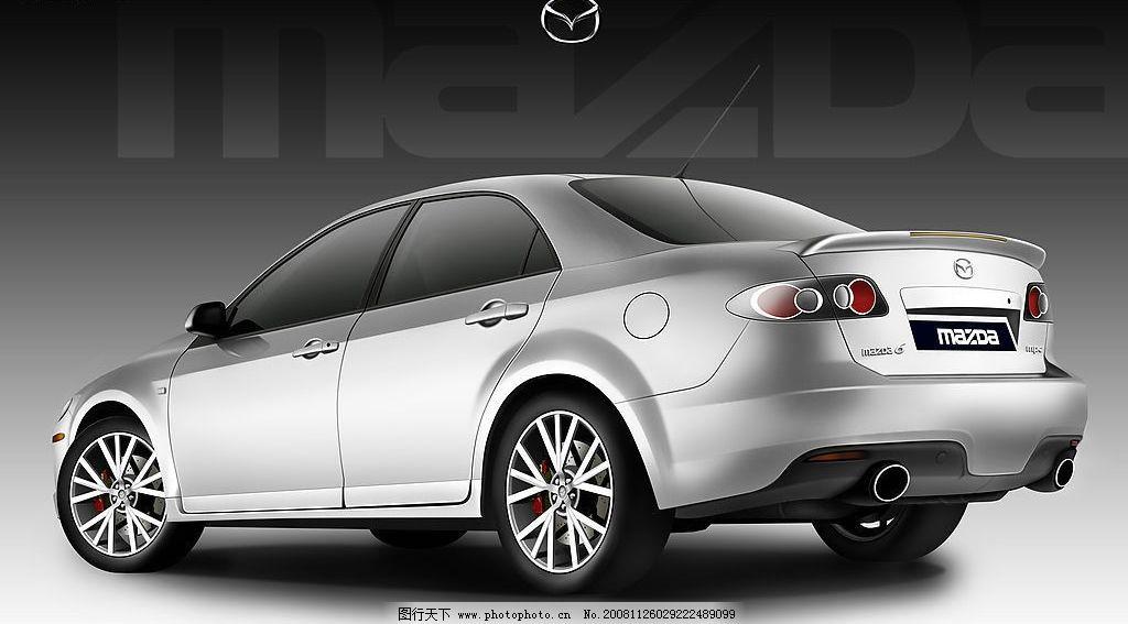 马自达6轿车手绘效果图 汽车 黑白色调 渐变背景 标志