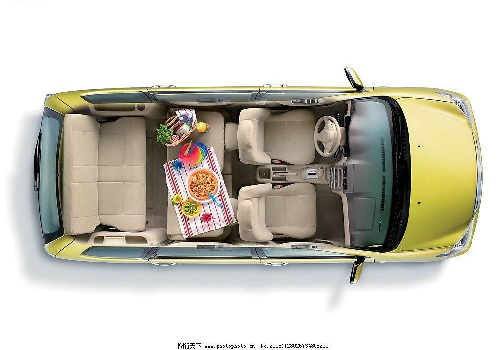 汽车 森雅汽车 汽车俯视图 汽车透视图 车箱 披萨 桌布 水果