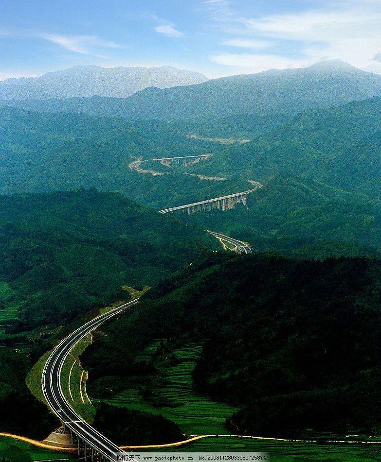 航拍 高速公路 高速铁路 高架桥 绿山 蓝天 天空 远山 旅游摄影 国内