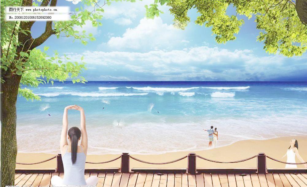 背景素材 大海 风景树 鸽子 广告设计 海报设计 海边风光 边风景素材
