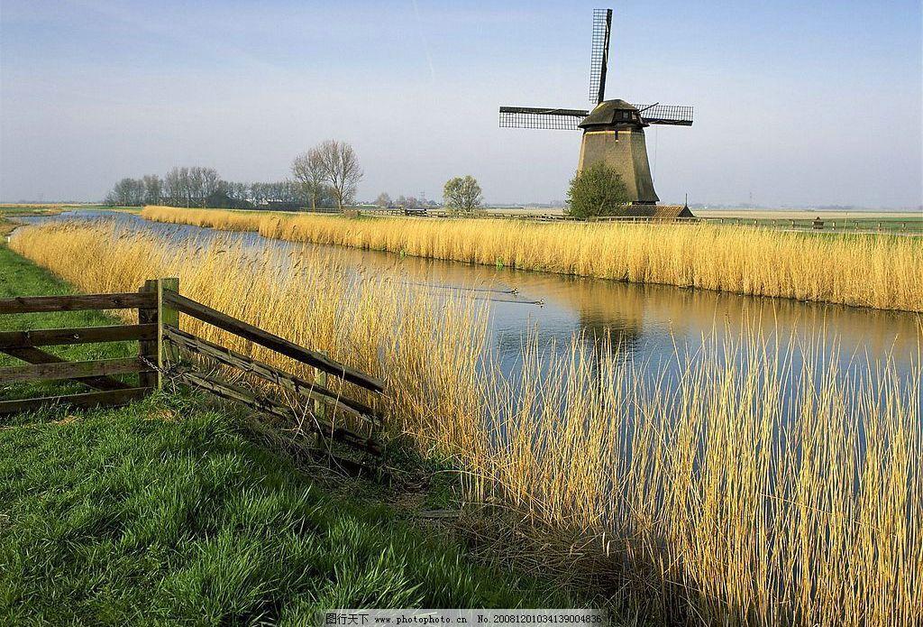 荷兰风车 旅游摄影 自然风景 摄影图库 72dpi jpg