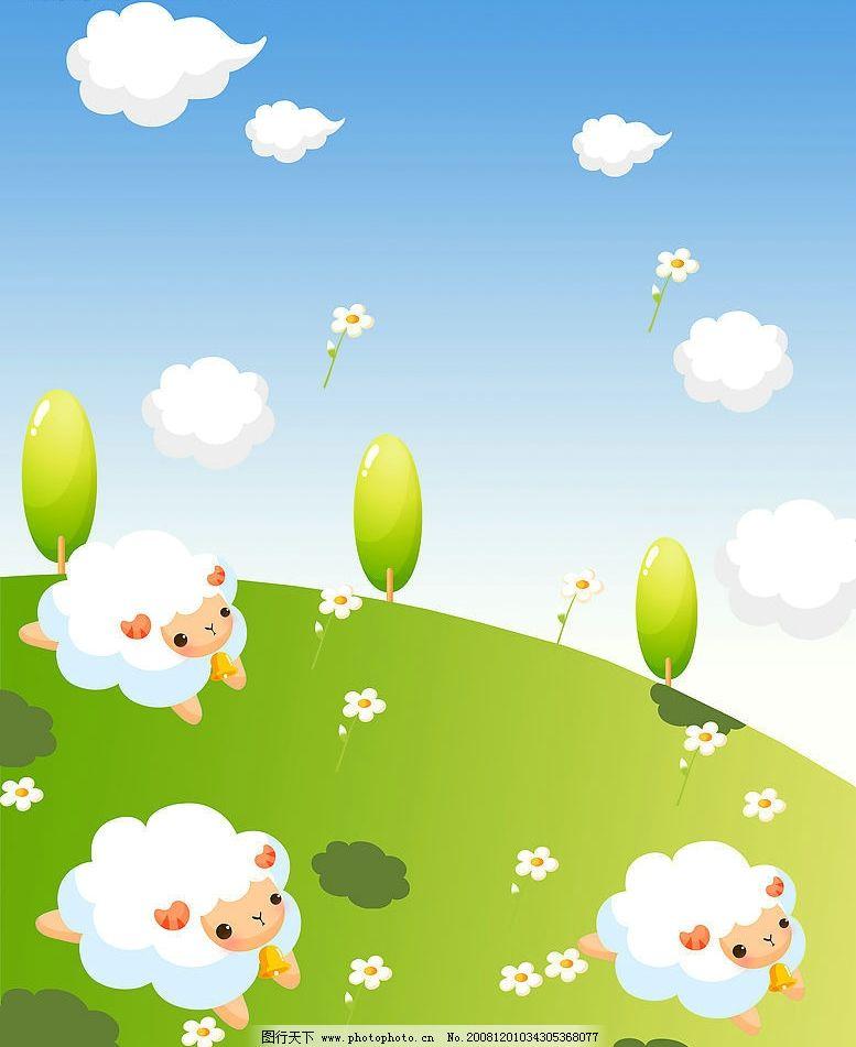 幼儿树叶贴绵羊贴画