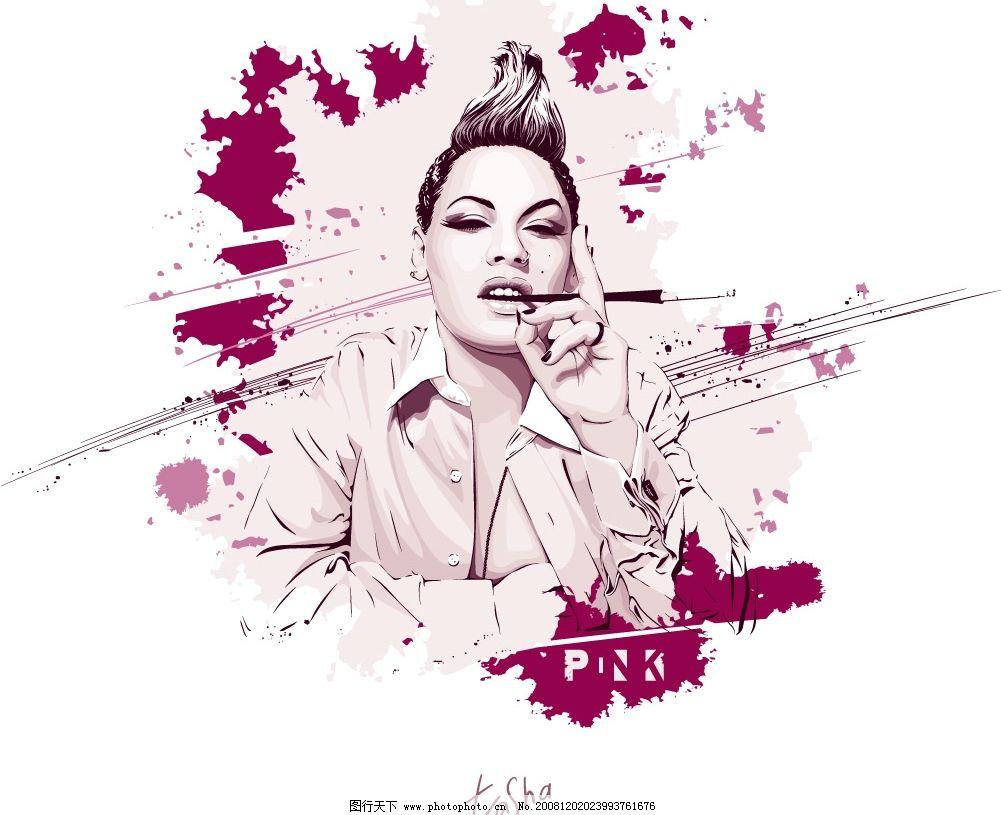 吸烟的女性 外国女性 插画矢量素材 ai格式 矢量人物 女性 女人 吸烟