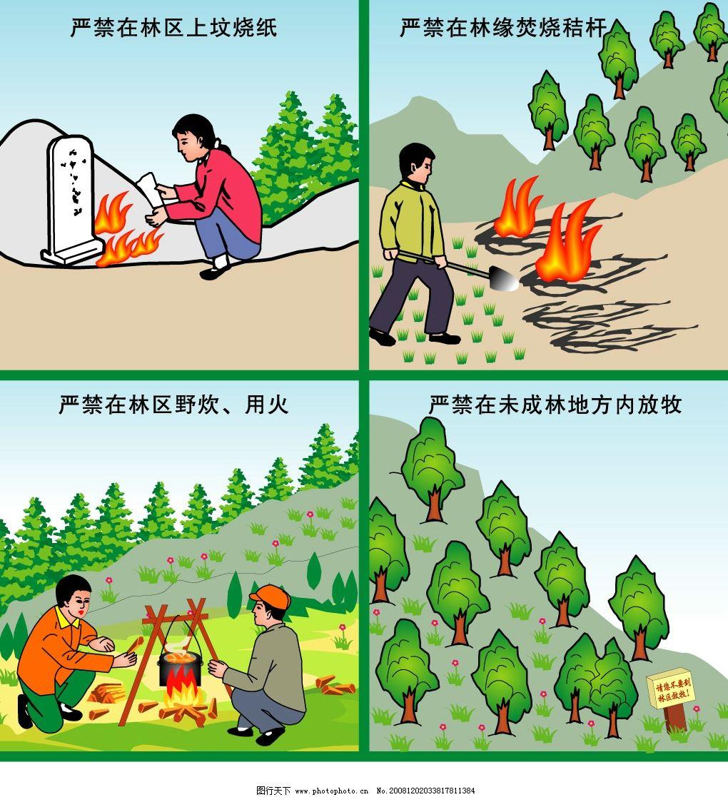 森林防火系列矢量图画图片