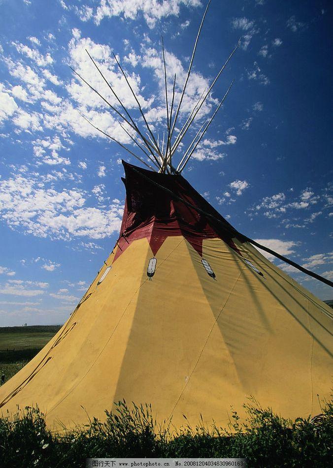 草原帐篷 欧洲 帐篷 蓝天 草原 自然景观 风景名胜 摄影图库 300dpi