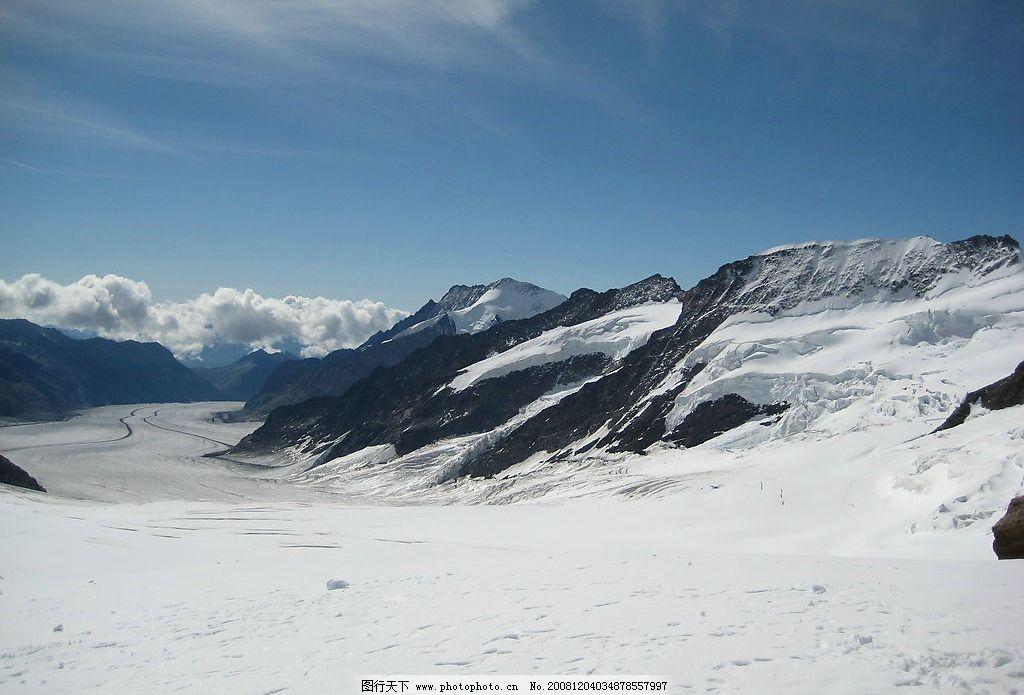 雪山 雪景 白雪 天空 自然景观 自然风景 摄影图库