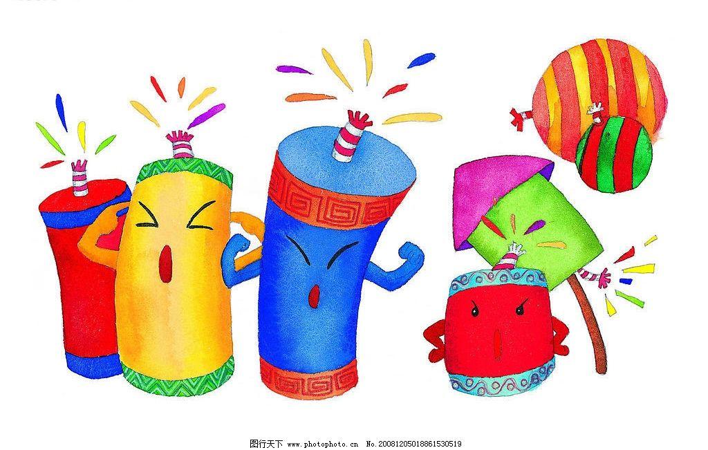 放鞭炮 卡通鞭炮 小孩子放鞭炮 放气球 卡通气球 其他 图片素材 设计
