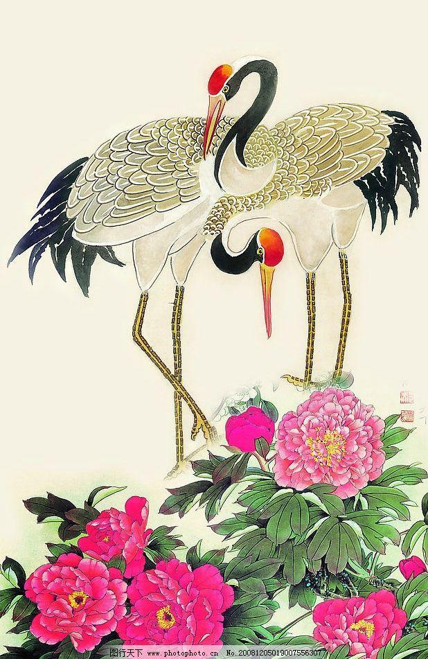 仙鹤 牡丹花 吉祥鸟 花鸟画 文化艺术 绘画书法 设计图库 72dpi jpg