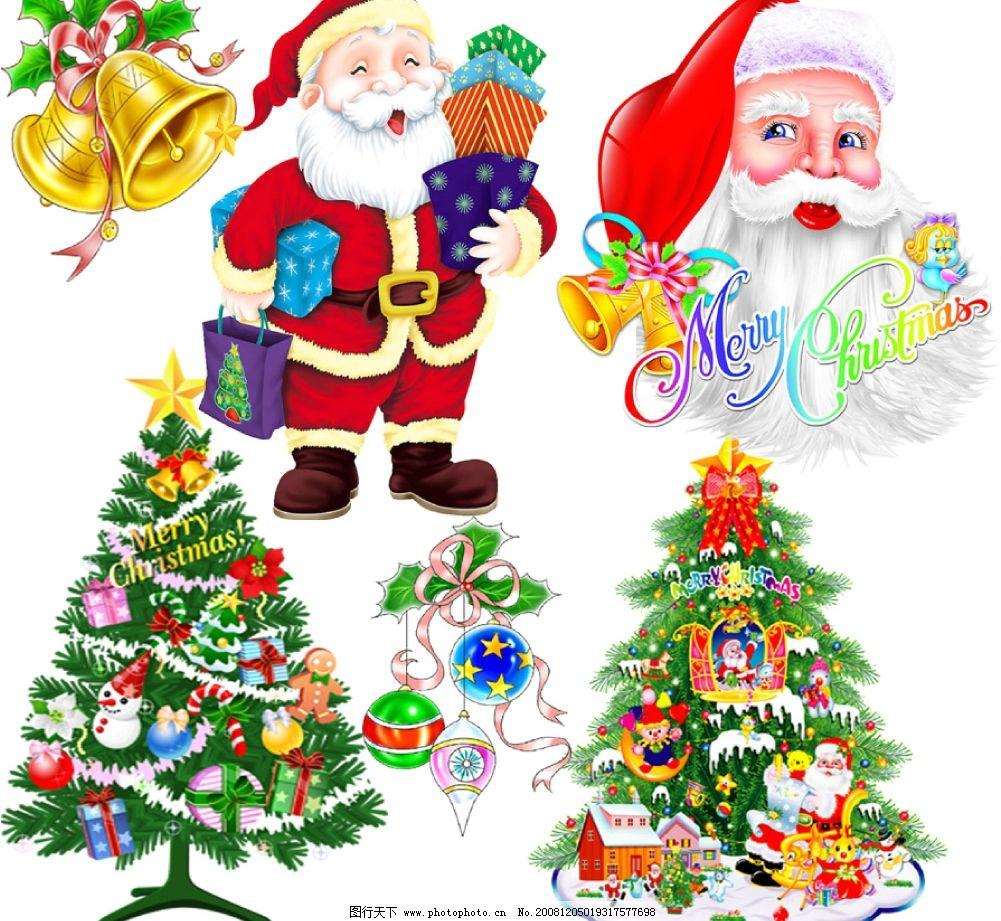美丽的圣诞树和 可爱的圣诞老人图片