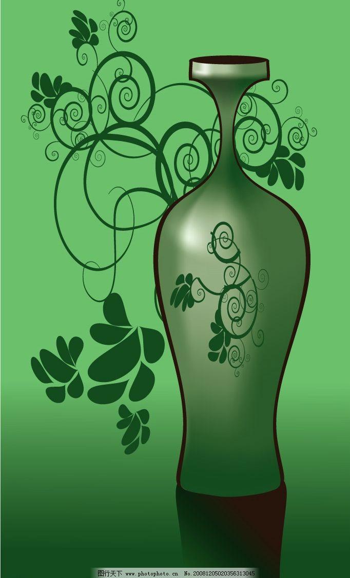 花瓶 底纹边框 花纹花边 矢量图库 eps