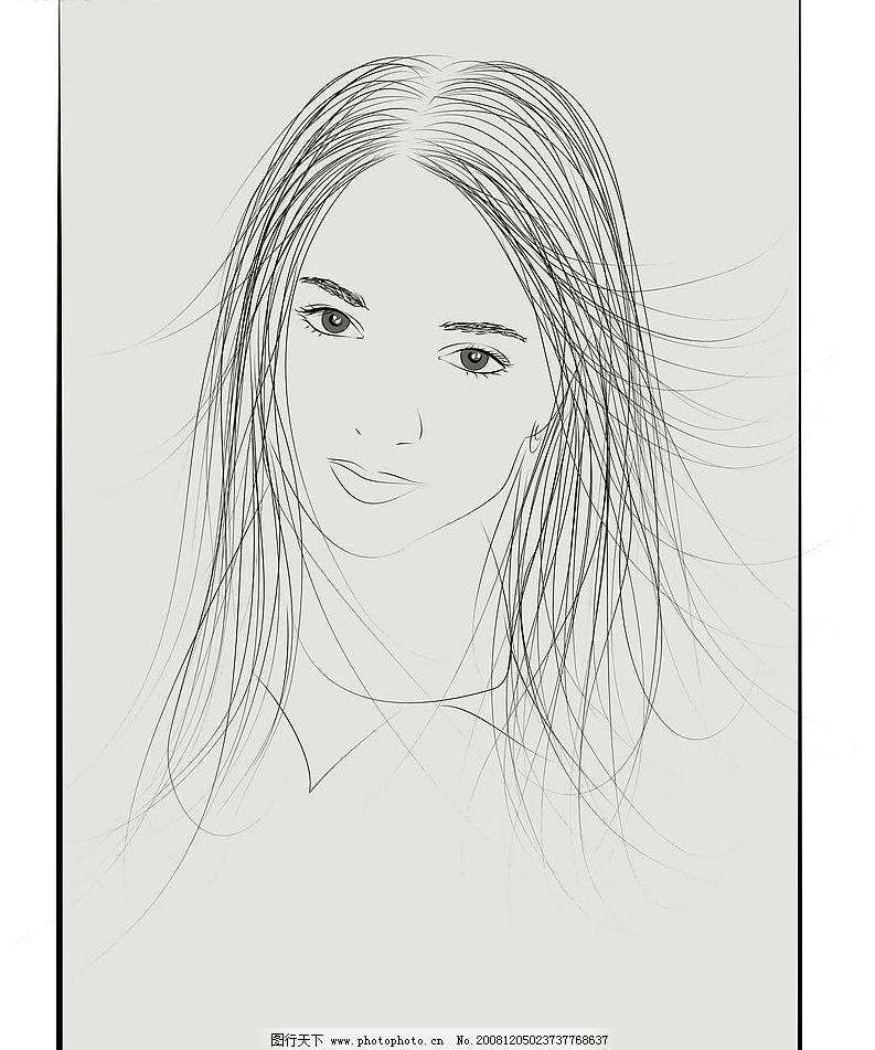 铅笔画美女矢量图图片
