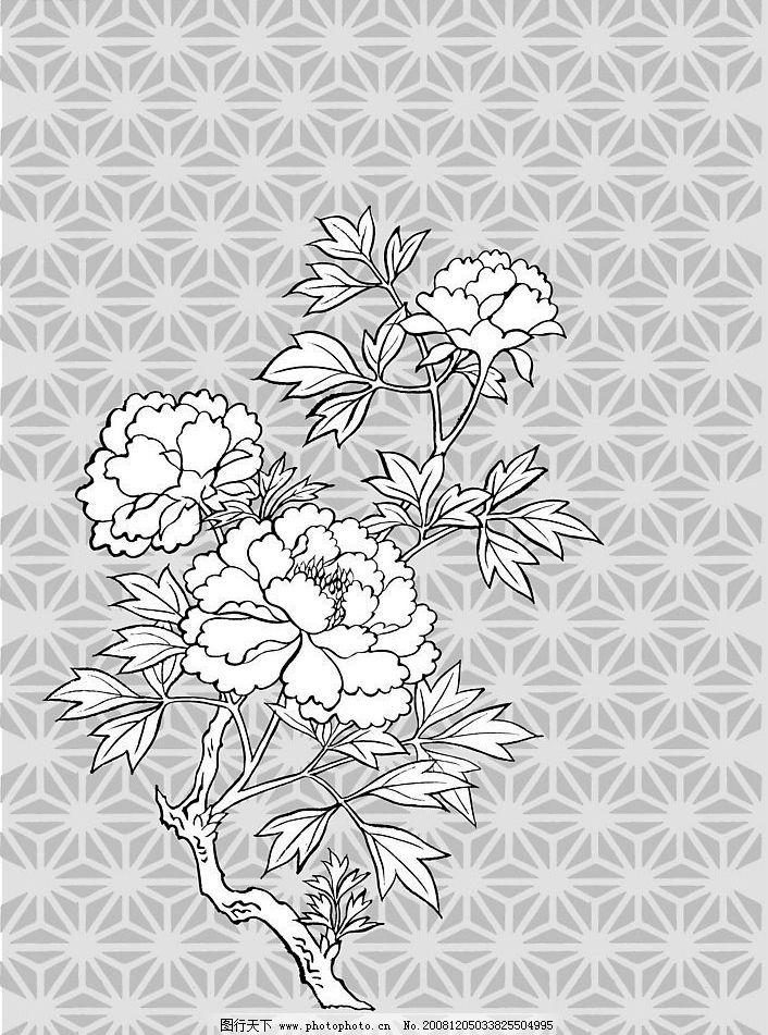 线条牡丹花 eps格式 含有预览图 其他矢量 矢量素材 矢量图库 eps