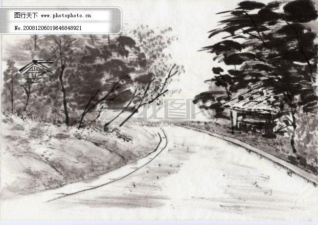 水墨风景 水墨风景免费下载 树木 田园 图片素材 文化艺术