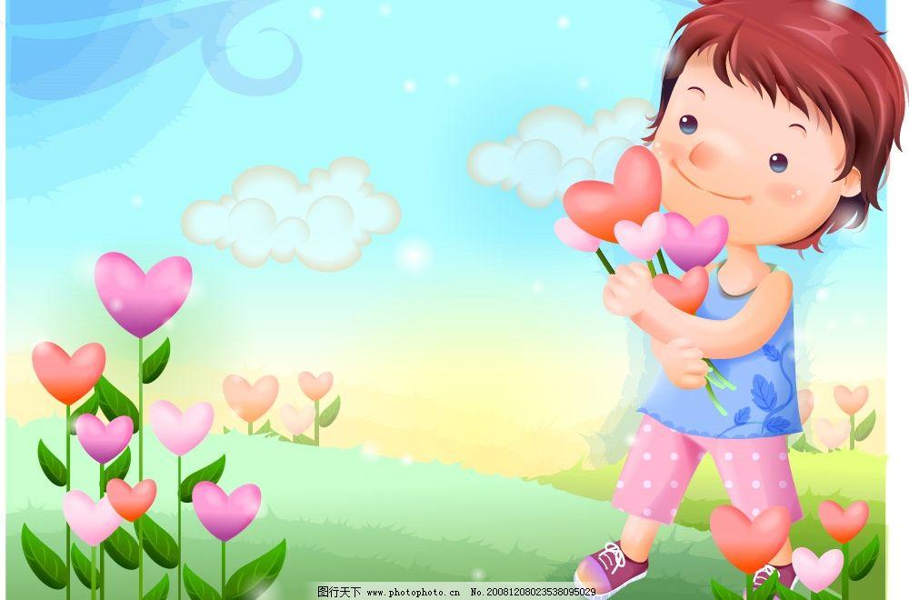 卡通 风景 移门 移门插画 韩国卡通插画 梦幻 女孩 矢量人物 儿童幼儿