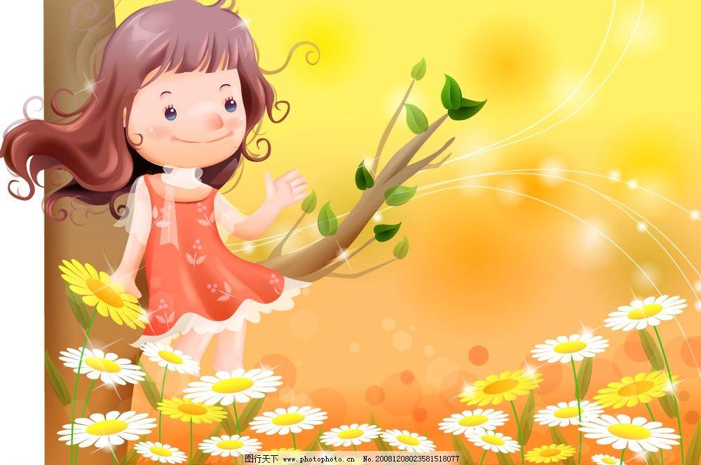 梦幻插画 卡通 风景 移门 移门插画 韩国卡通插画 梦幻 女孩 矢量人物