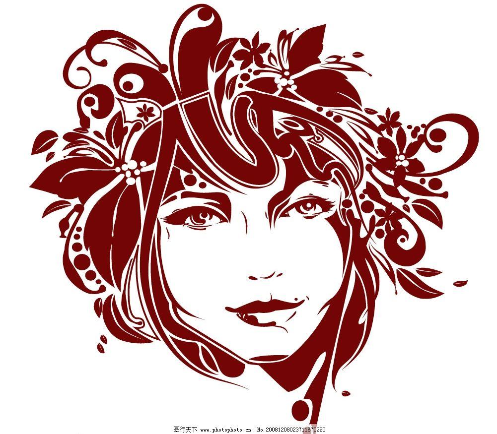 时尚花朵女性矢量图图片