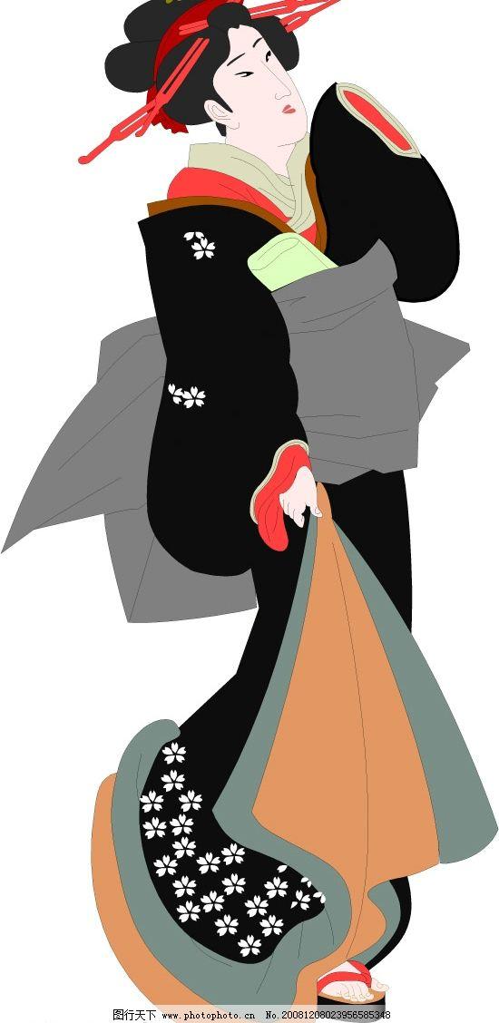 浮世绘美女 日本浮世绘 矢量人物 其他人物 矢量图库