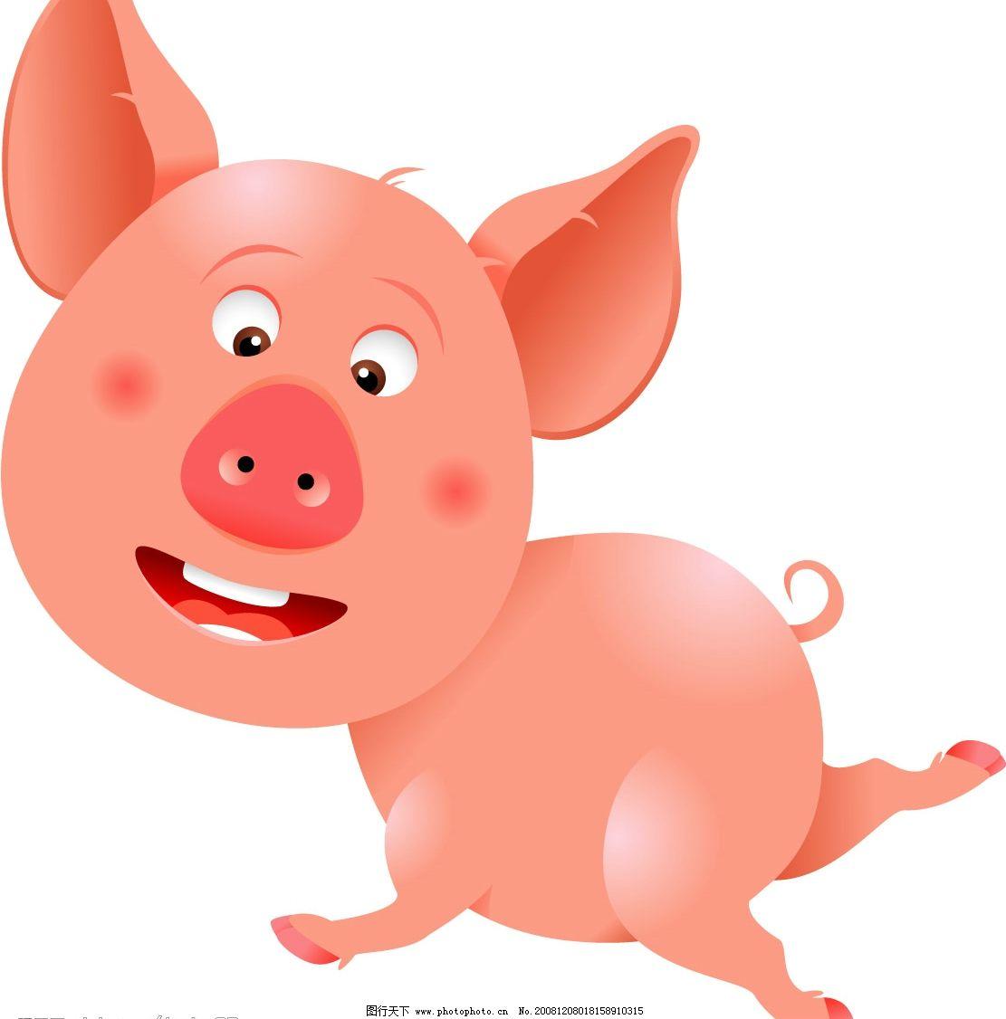 小猪 矢量小猪 矢量图库 可爱动物 ai