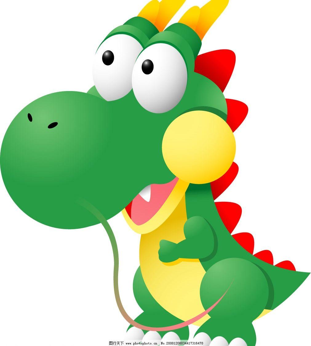绿色小恐龙图片,矢量绿色小恐龙 矢量图库 可爱动物