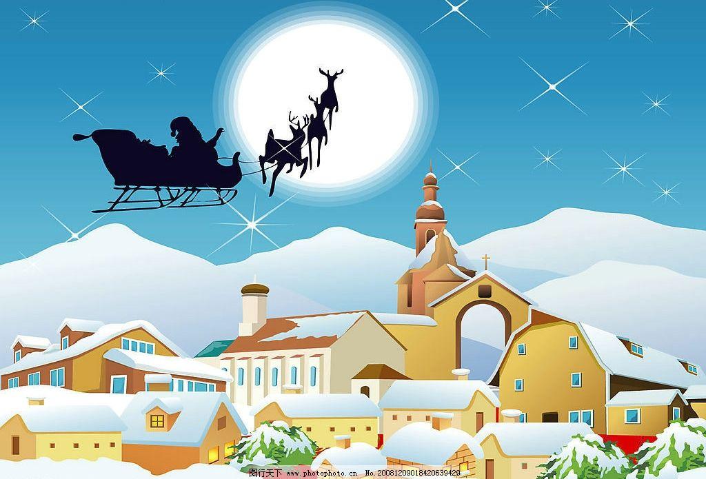 美丽雪景 星光 月亮 背景 插图 雪地 风景 冬天 冬季 雪景 动漫动画图片