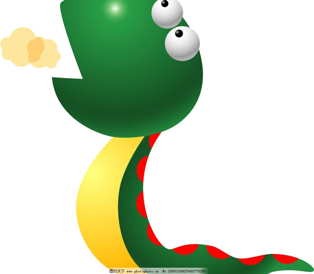 绿色的小蛇 可爱小蛇 矢量图库 可爱动物