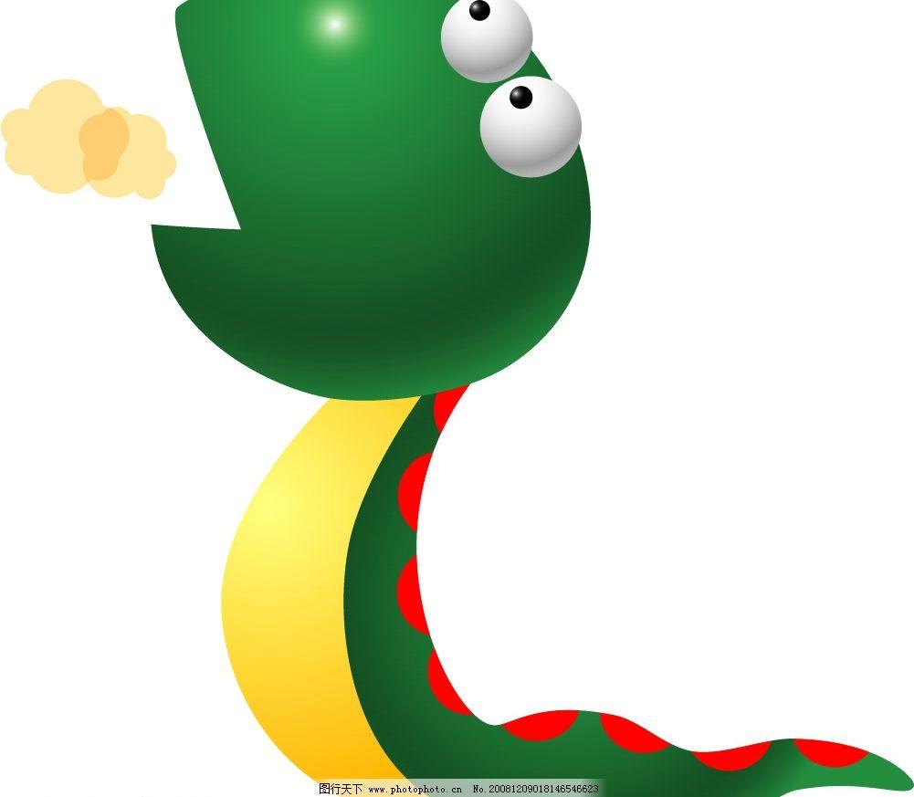 绿色的小蛇 可爱小蛇 矢量图库 可爱动物 ai