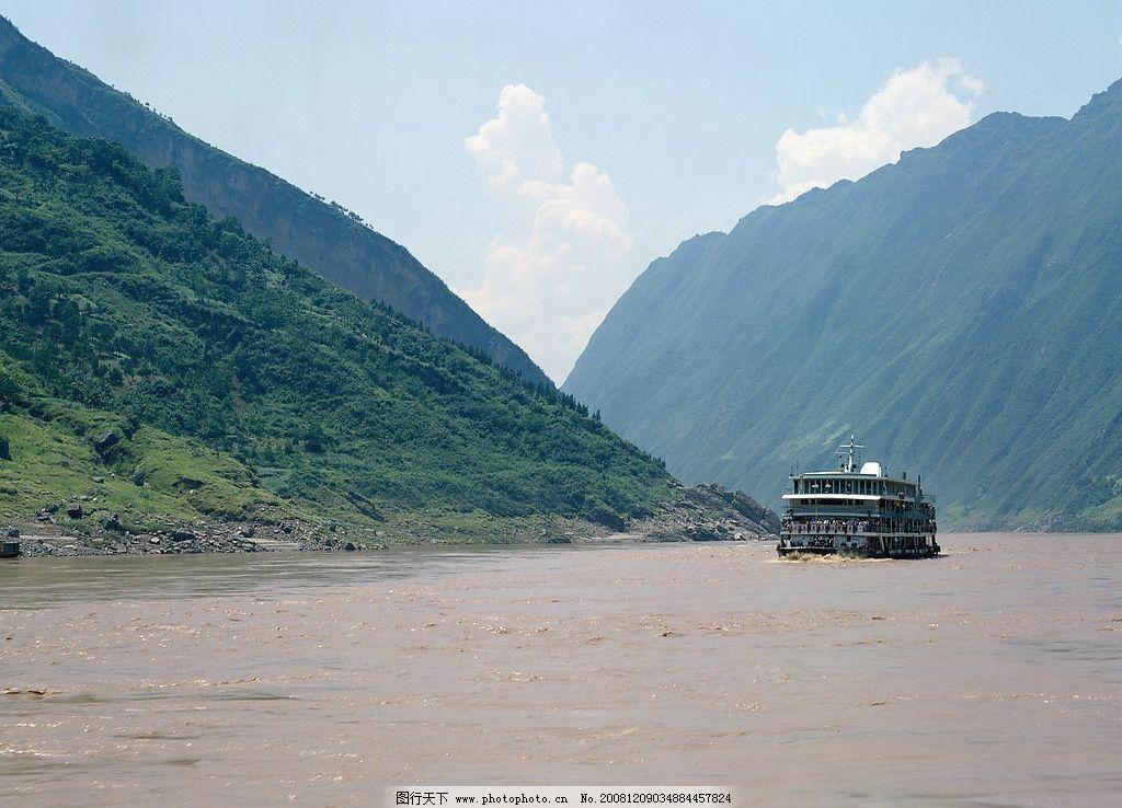 山脉江水自然风景图片