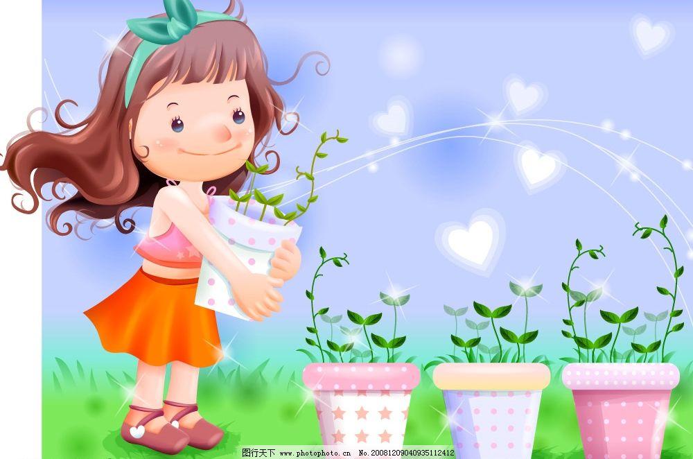 儿童插画 韩国梦幻插画 小女孩 花 插画 梦幻插画 卡通 风景 移门