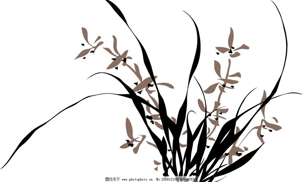 兰花 中国画 艺术 水墨画 文化艺术 美术绘画 矢量图库 ai