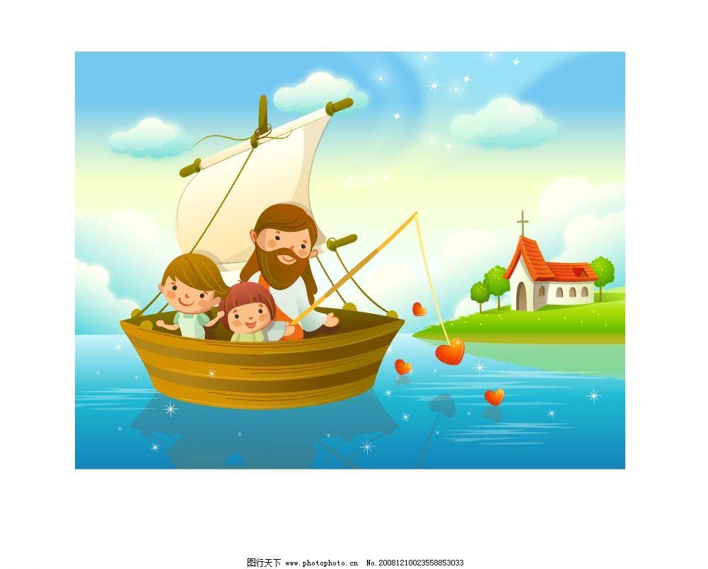 耶稣儿童风景 韩国耶稣与儿童风景 韩国风景 插画风景 矢量人物