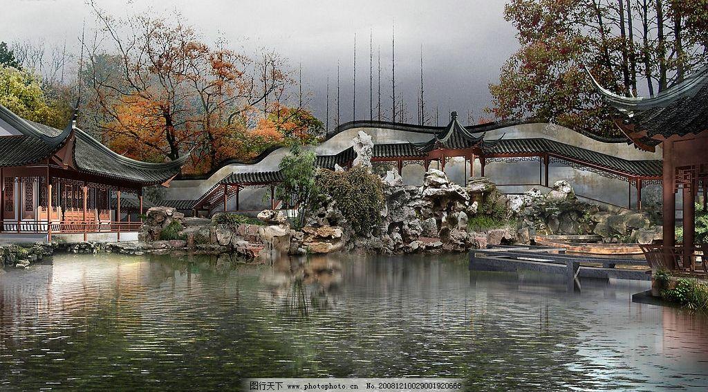 建筑园林效果图 庭院 风景 山水 假山 亭子 绿化 后花园 房地产设计